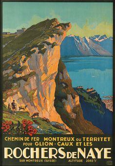 Original vintage Swiss Alps Rochers de Naye travel poster by Emil Muller, 1927