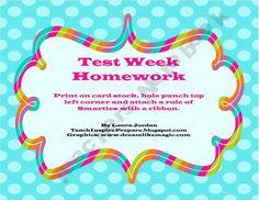 Smarties Test Week Homwork Pass