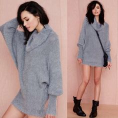 """FLASH SALE! Nasty Gal Alpine Fuzzy Sweater There's not much cozier than this fuzzy gray sweater. It has a turtleneck, ribbing at hemline, and dolman sleeves. Oversized fit, unlined. Throw it on with leather leggings and moto boots for the perfect day-to-night look. By Nasty Gal.  *Acrylic/Polyester  *Runs true to size  *Model is wearing smallest size available  *Hand wash cold  *Imported  Bust: 34 // Waist: 27 // Hips: 37""""                        SOLD OUT ONLINE! Nasty Gal Sweaters Cowl…"""