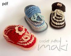Crochet pattern step-by-step. Super cute baby sneakers!