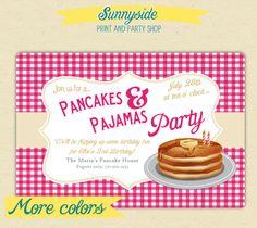 Pancakes and Pajamas Birthday Party Invites by sunnysideprintparty