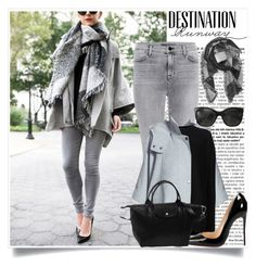 """""""Grey for Days: Atlantic-Pacific"""" by inyene105 ❤ liked on Polyvore featuring Bebe, J Brand, DKNY, Haider Ackermann, San Diego Hat Co., Christian Louboutin, Longchamp, Chanel and grey"""