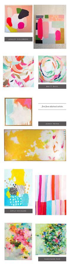 abstract art from Ashley Goldberg, Britt Bass, Jenny Prinn, Emily Rickard and Yangyang Pan on Youaremyfave.com