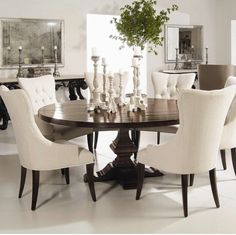 Interiors   Wood Plank Round Pedestal Dining Table By Bernhardt   Riverview  Galleries   Dining Room Table