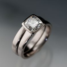 Moissanite Bezel Set Cushion Engagement Ring and Wedding Band Bridal Set in Silver/Palladium