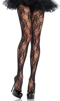 """Floral Lace Tights Pantyhose Leg Avenue If you are at either end of the size ranges above, particularly at the upper end, then you may want to avoid the """"one size"""" or """"plus size"""" styles. New Floral Lace Tights Pantyhose Leg Avenue Black Halloween Costumes, Halloween Costume Accessories, Lace Tights, Fishnet Tights, Grunge Look, 90s Grunge, Quoi Porter, Patterned Tights, Fashion Tights"""