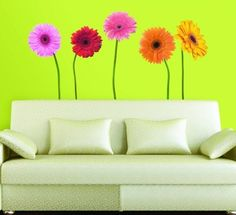 Colorful Daisies Wall Stickers - Colorful Life-like Daisies Wall Decals - Life-like Flower Wall Decor - Daisy Wall Murals Flower Wall Decals, Kids Wall Decals, Removable Wall Decals, Wall Stickers, Wallpaper Stickers, Bird Wallpaper, Wallpaper Decor, Gerbera, Wall Safe