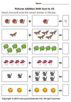 basic addition worksheets with sum to 10
