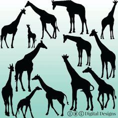 12 Giraffe Silhouette Digital Clipart Images, Clipart Design Elements, Instant Download, Black Silhouette Clip art