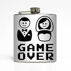 Game Over Whiskey Flask Funny Groom Bride Men Bachelor Party Husband Wedding Day Spouse Gift Stainless Steel 6 oz Liquor Hip Flask LC-1360
