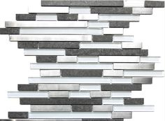 Modern Random Mix Steel - Glass - Ceramic   This ultra modern tile is comprised of various sizes of stainless steel, white glass and dark gray ceramic tile with a stone effect. The result is a visually stunning array of colors and textures which will surely make your wall pop. Use this steel and glass mixed mosaic on kitchen backsplashes, bathroom walls, fireplaces and even accent walls. The tiles in this sheet are mounted on a nylon mesh which allows for an easy installation.