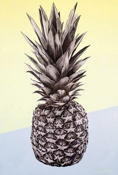 Pineapple painting, oil and charcoal on canvas