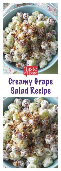 Creamy Grape Salad Mom makes all the time! Fruit Recipes, Summer Recipes, New Recipes, Salad Recipes, Cooking Recipes, Favorite Recipes, Healthy Recipes, Dessert Recipes, Desserts
