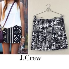 Final price J crew graphic mini skirt J. crew factory graphic mini cotton skirt size 4 retail $68 like new worn only once no offers please final price J. Crew Skirts