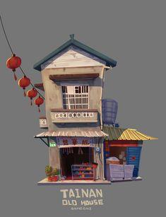 tainan old house, wang dada Stock Design, Bg Design, Prop Design, Game Design, Cartoon Building, Building Art, Building Illustration, House Illustration, Environment Concept Art