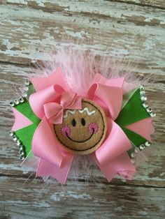 Pink Gringerbread Hair Bow Christmas hair bow by TheJMarieBoutique, $9.99