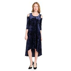 7fd0efccb03 735-172 - Kate   Mallory® Crushed Velvet 3 4 Sleeve Cold Shoulder