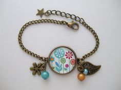 """Bracelet """"Prairie"""" cabochon bijou fleur feuille étoile perle orange bleu fuchsia vert rouge : Bracelet par cabochonsuccess"""