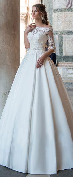 Wonderful Tulle & Satin Off-the-shoulder Neckline A-Line Wedding Dress With Lace Appliques & Belt