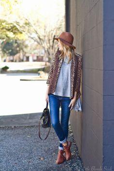 leopard jacket + hat.