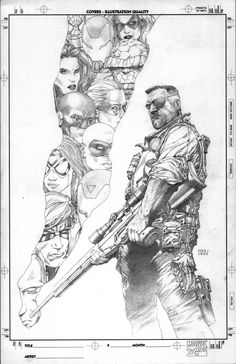 Variant Cover Pencils for Secret Invasion, Vol. 1 by Steve McNiven Comic Book Artists, Comic Artist, Comic Books Art, Artist Art, Dc Comics Art, Batman Comics, Steve Mcniven, D Mark, Black And White Comics