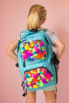 DIY Pom-Pom Backpack - so fun for back-to-school!
