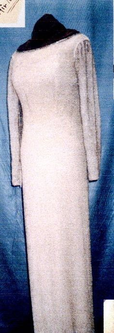 """Jean Louis white sequinned gown Marilyn ordered shortly before her death to wear to the premiere of Irving Berlin's new musical """"Mr. President"""", 1962."""