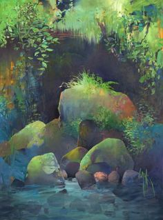 Pool athe Base of the Falls, painting by artist Randall David Tipton