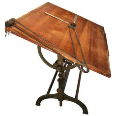 Great Large Cast Iron Drafting Table | 1stdibs.com