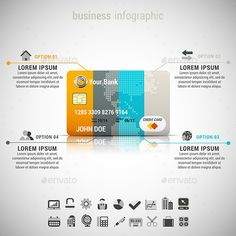 Vector illustration of business infographic made of credit card. 22 icons inside file. ZIP includes free font link, EPS10, PSD and