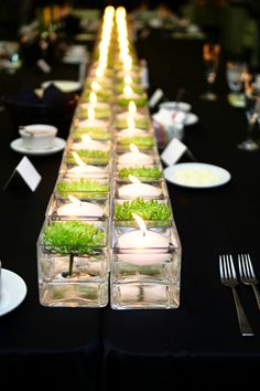 Wedding Table Decoration Ideas For a Green Wedding - Candle Centerpieces.  | Read more:  http://simpleweddingstuff.blogspot.com/2015/02/wedding-table-decoration-ideas-for.html