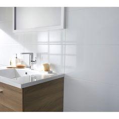 Carrelage mural strozzi nacre 20 x 50 cm bains pinterest for Carrelage mural blanc brillant 30x60