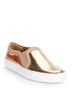 Givenchy - Bicolor Metallic Leather Slip-On Sneakers