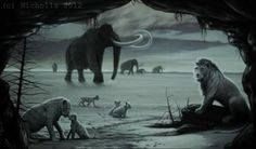 Cave Lion pride with Mammoths passing.