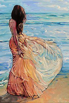 4 Krista our dark haired beauty! Acrylic Painting Canvas, Canvas Artwork, Art N Craft, Art Drawings Sketches, Beach Art, Portrait Art, Female Art, Amazing Art, Watercolor Art
