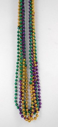 33 inch 7.5mm Round Metallic Purple Gold and Green 3 Section Mardi Gras Beads - 6 DZ (72 necklaces)
