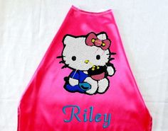 Girl's Cape  Hello Kitty Embroidered  Design by RidgeTopEmbroidery, $28.00
