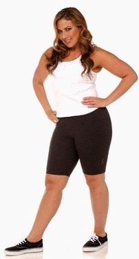 "As Seen On NBC's Hit Show ""The Biggest Loser"" - Women's Plus Size Workout Clothing - 9557A Plus Size Bike Short - Sizes 1X-6X - CHARCOAL JUST ARRIVED"