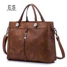 Vintage Fashion Handbag Tote Bag 2017 PU Leather Handbags Women Zipper High Quality Casual Shoulder Bag Black Brown Green Gray //Price: $US $22.99 & FREE Shipping //     #hashtag2
