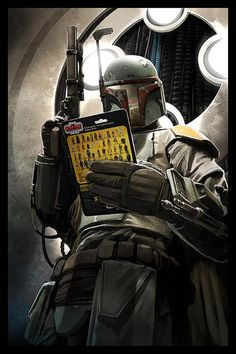 """Boba Fett examines a Kenner Star Wars action figure to ensure that it is """"Mint In Box""""."""