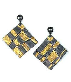 """Marcia Meyers: , Oxidized fine silver post earrings with 23k gold keum boo. Approx 1 3/4"""" long."""