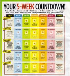 5-Week Workout Calendar (goes with daily workouts) health-and-wellness workout