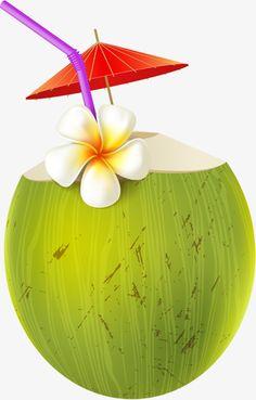Cartoon coconut juice PNG and Clipart Bon Weekend, Coconut Vector, Bolo Moana, Ice Cream Art, Cartoon Crazy, Coconut Drinks, Beach Illustration, Moana Party, Hawaiian