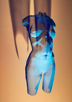 Wire-Mesh Sculpture CHROMB 2015 - Painted bronze-mesh female torso, suspended by David Begbie, unique.