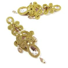 Fancy bilateral dangle openwork golden soutache by byPiLLowDesign, $112.00
