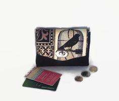 A personal favourite from my Etsy shop https://www.etsy.com/uk/listing/496008956/slim-purse-mini-wallet-raven-crow