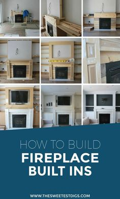 Want to build some DIY fireplace built ins in your living room? Building these cabinets, shelves, mantle, and recessed spot for the TV has added so much character to our home. Check out the play-by-play of how we created these using MDF, ledgestone, carrara tile, and white paint! If you've gotta put a TV above the fireplace, this is a pretty great way of doing it. Click through for the tutorial!
