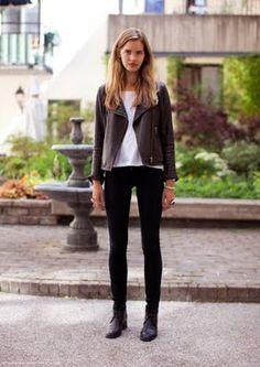 Leather jacket, edgy street style #minimalist #fashion #style