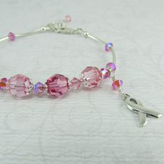 Pink Breast Cancer Awareness Silver Ribbon Bracelet by BeadedEmbellishments on Etsy, $50.00