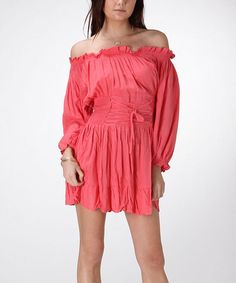 Look what I found on #zulily! Pink Lace-Up Off-Shoulder Dress #zulilyfinds